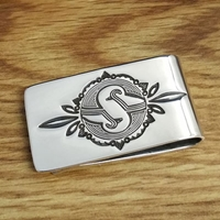 Sterling silver money clip with Mimbres Mountain Sheep design.