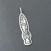 Sterling silver strip pendant with The Silver Mesas hand stamped Pueblo Scroll design.