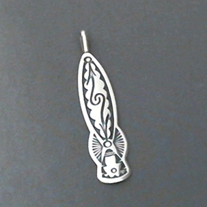 Sterling silver strip pendant with The Silver Mesa's hand stamped Pueblo Scroll design.