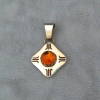 Citrine and sterling silver pendant.  Native American made.